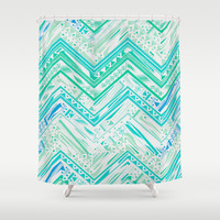 MINT ETHNIC CHEVRON Shower Curtain by Nika | Society6