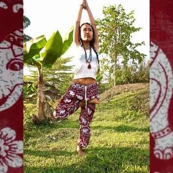 Red Elephant Pants // Hippie Pants // Harem Pants // Music Festival Clothing // Bohemian Pants // Yoga Pants // Music Festival /