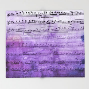 Music Throw Blanket  - Purple ombre music blanket throw  - beautiful lavender, indigo, watercolor, decor,  cozy