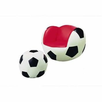 Soccer Chair & Ottoman, Red/Black & White