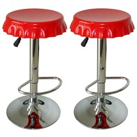 Amerihome BS107SET Soda Cap Bar Stool Set, Red, 2-Piece