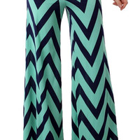 Chevron Palazzo Pants - Mint and Navy