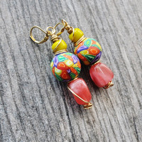 Boho Earrings, Dangle Earrings, Fashion Earrings, Boho Tribal, Boho Chic ,Bold Earrings, Colorful Earrings, Moonstone Earrings