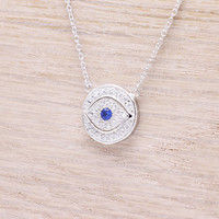 925 sterling silver cubic zirconia round evil eye with sapphire cz necklace
