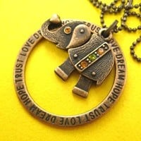 Robot Elephant Animal Pendant Necklace in Bronze with Rhinestones