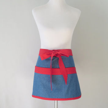 Womens Short Denim Half Apron, Cute, Blue and Red, Teacher, Gardening, Short Kitchen, Craft Fair, Vendor Apron, Mothers Day Gift Mom