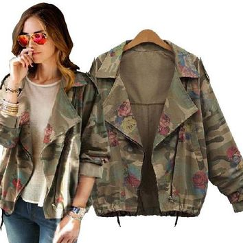 2017 New women's army green camouflage jackets coat zipper cardigans denim jackets women coats winter clothings Free Shipping
