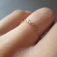 Delicate Diamond Solitaire Chain Ring - Gold Filled Promise Ring Engagement