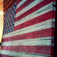 Rustic Wood American Flag 27x14