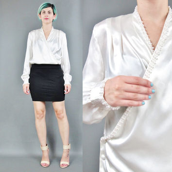 80s Cream Satin Blouse Faux Pearls Beaded White Satin Shirt Long Sleeve Blouse Office Chic Top Secretary Blouse Pleated Wrap Blouse (M/L)