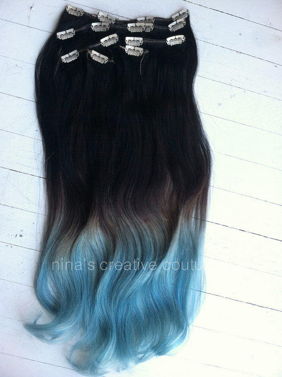 Blue Ombre Hair Extensions Blue Dip Dye From Ninas Creative