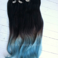 "Blue Ombre Hair Extensions, Blue Dip Dye Hair, Black or Brown Hair Dip Dyed with Blue//(7) Pieces//18""/Customize your Base"
