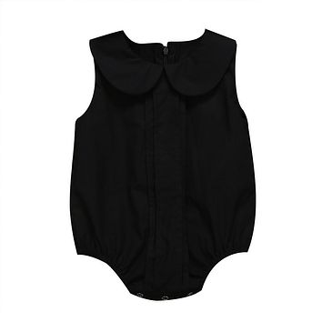Newborn Baby Girls Doll Collar Romper Jumpsuit Clothes Sunsuit Outfits Black Sleeveless Girl Clothes