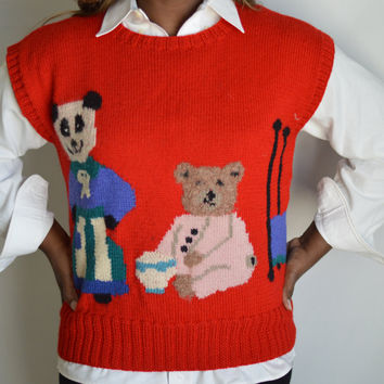 80s Vintage Goldilocks and The Three Bears Sweater/ Red / Large / X-Large