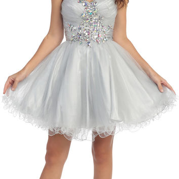 Ruched Sweetheart Studded Short Silver Homecoming Dress