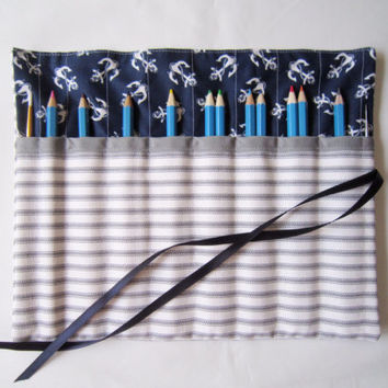 Pencil Roll/ Crochet Hook Case/ Cosmetic Brush Roll/  Arts and Crafts storage/ Gray strip and anchor fabric/ Navy blue Ribbon