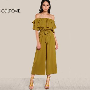 COLROVIE Sexy Flounce Culotte Jumpsuit Women Off Shoulder Self Tie Yellow Jumpsuits New Ruffle Half Sleeve Elegant Jumpsuit