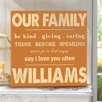 Canvas Sign Rules of Our Family Free Personalization