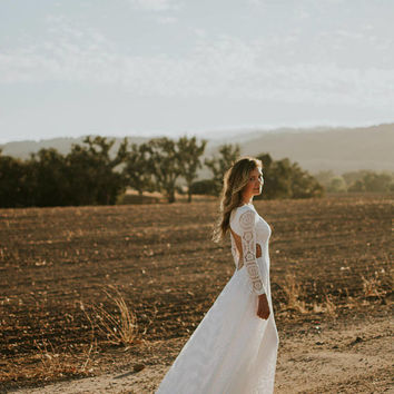 Lace Long Sleeve Wedding Dress, Long Train, Bohemian Wedding Dress, Soft Organic Cotton with Woven and Embroidered Lace - Veda Dress