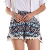 Navy Combo Crochet-Trim Boho Print Tulip Shorts by Charlotte Russe