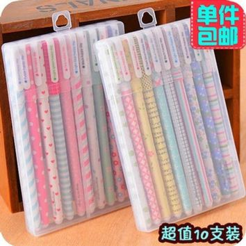 DCCKL72 Korea Stationery Kawaii Student Gel Pen Colors Mix 10pcs/ Box Plastic Protection Cover Loveyl Pen School Supplies