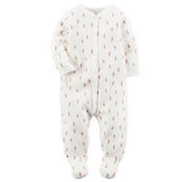 Carter's Boys Ivory Feather Printed Snap Front Footie