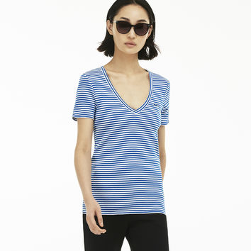 Women's Buttoned Ribbed Crew Neck Cotton Blend T-Shirt