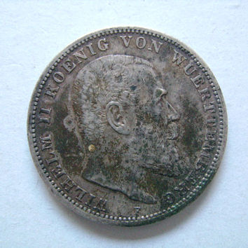 1914 Silver German States 3 Drei Marks Coin F Mint Mark Stuttgart with Image of William Wilhelm II of Wurttemberg