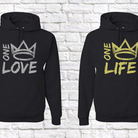 One Love , One Life Matching Couples Sweatshirts