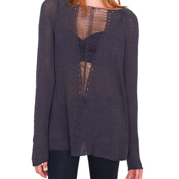 Crush Sweater Top Charcoal