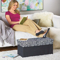 Decorative Storage Ottomans Zebra Comfort New Free Shipping Wooden Polyester