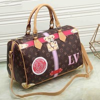 Louis Vuitton Women Fashion Leather Handbag Bag Cosmetic Bag Medium Bag Coffee Print