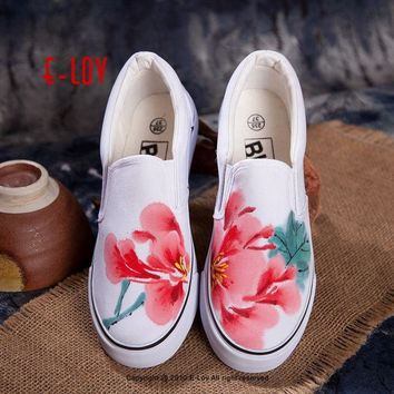 E-LOV 14 Special Painting Unisex Designs Hand-Painted Canvas Shoes Personalized Men Adult Casual Shoes Cute Platform Shoes