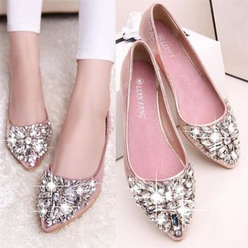 2018 New Summer Women's Pointed Toe Ladise Shoes Casual Rhinestone Low Heel Shoes Fashion Shoes Woman Moccasins