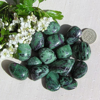 8 Ruby in Zoisite (Anyolite) Crystal Tumblestones - Last Crystals in Stock