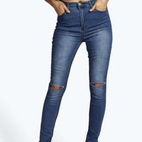 Sam High Waisted Split Knee Skinny Jeans