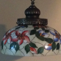 Vintage Hand Painted Dome Pendant Light Mid Century L & LWMC