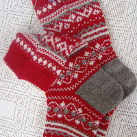 Red socks, Norwegian socks knitted Christmas socks wool socks - beautiful warm stylish cute - a gift for you or your friend