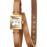 GUCCI - YA128521 G-Frame leather watch | Selfridges.com