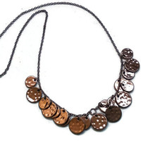 "Brown Discs Simple Statement Necklace - 21"" with Re-size Options - NCK049"