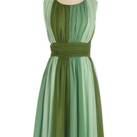 ModCloth Long Sleeveless A-line Evolution of Elegance Dress in Green