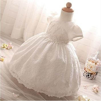 Baby dress New Year Christmas Girl Lace Christening Gown White Tulle Infant Princess Baptism Dresses for Baby Girls 1st Birthday
