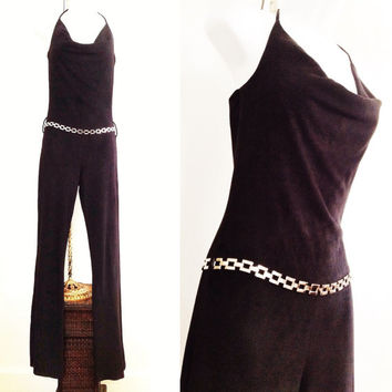 70s/80s black jumpsuit/ vintage halter jumpsuit / charlie's angels / studio 54 disco / ultrasuede jumpsuit with belt