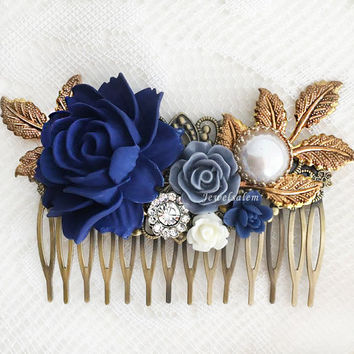 Navy Blue Wedding Hair Accessories Dark Blue Flower Bridal Hair Comb Elegant Romantic Headpiece Rustic Hair Slide with Rhinestone Pearl