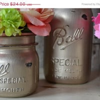 ON SALE Set of 4 Hand Painted Distressed Antique Gold Mason Jars