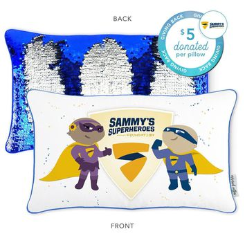 Sammy's Superheroes Mermaid Pillow with Blue & Gold Reversible Sequins