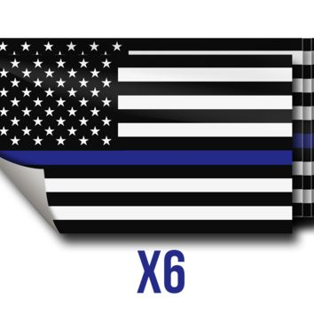 Lot of 6 Thin Blue Line Stickers. Support Law Enforcement