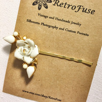 White and gold porcelain flower hair pin made from a recycled vintage 1950s clip earring, gift for women, wedding bridal hair pin