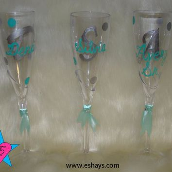 Personalized Wedding Plastic Champagne Glasses