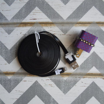 New Super Cute Jeweled Purple Moroccan Designed Wall iphone 5/5s Charger + 10ft Flat Black Cable Cord Super Long